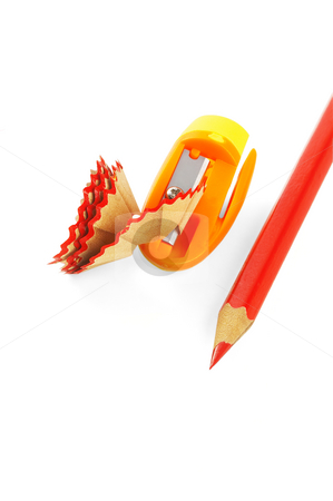 Coulored pencils stock photo, Sharpened coulor pencils isolated over white background by Francesco Perre