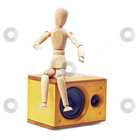 Wood mannequin stock photo, Wood mannequin sitting on a speaker isolated on white background by Francesco Perre