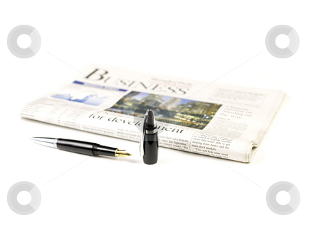 Newspaper and pen stock photo, Newspaper and pen on white background by Francesco Perre