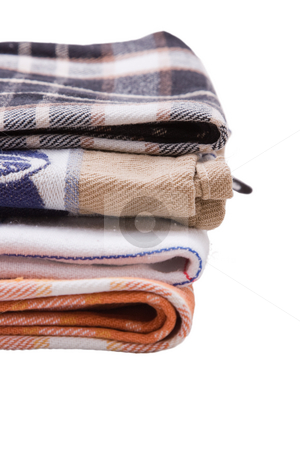Tea Towels stock photo, A stack of tea towels on a white background by Nicholas Rjabow