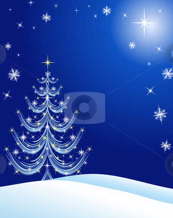 Christmas Tree with Snow and Stars stock photo, Christmas scene illustration - abstract white Christmas tree on blue background with snow, stars, and snowflakes. by Teri Francis Mazzafro