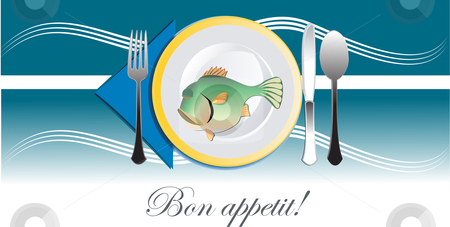 Plate with fish stock vector clipart, Plate with fish vector illustration by Leonid Dorfman