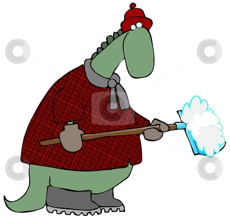 Snow Shoveling Dinosaur stock photo, This illustration depicts a dinosaur in a winter coat with a snow shovel. by Dennis Cox
