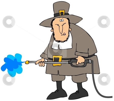 Pilgrim Pressure Wash stock photo, This illustration depicts a Pilgrim holding a pressure washer wand. by Dennis Cox
