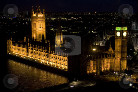Houses of Parliment at night stock photo, The Houses of Parliment in Westminster, London, UK at night as viewed from the London Eye by Steve Smith