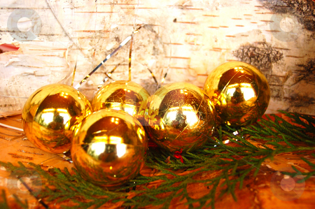 Christmas Balls stock photo, Golden Christmas Balls by Lars Kastilan
