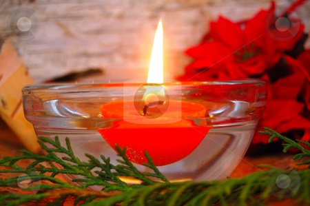 Candle stock photo, Christmas decoration with a floating candle by Lars Kastilan