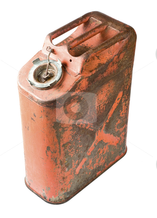 Old gas can isolated with clipping path stock photo, Fuel container sometimes called a gerry can. by RCarner Photography
