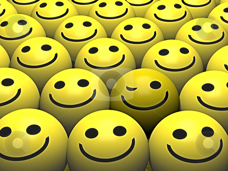 Winking smiley stock photo, A winking smiley stands out from the crowd by Norma Cornes