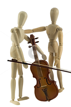 Learning to play stock photo, A wooden mannequin playing the violin. by Norma Cornes