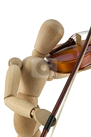 Mannequin and violin stock photo, A wooden mannequin playing the violin. by Norma Cornes