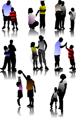 Children  with parents silhouettes.  stock vector clipart, Children  with parents silhouettes vector illustration by Leonid Dorfman