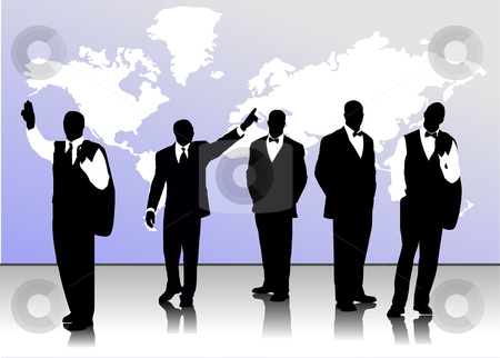 Business handsome men  silhouettes stock vector clipart, Business handsome men  silhouettes by Leonid Dorfman