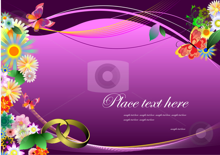 Wedding invitation stock vector clipart, Wedding invitation on purple background by Leonid Dorfman