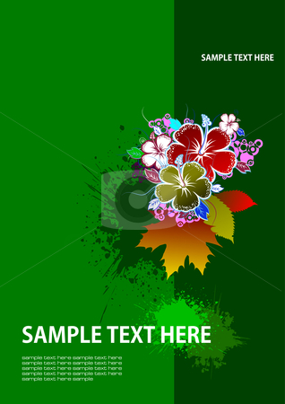 Cover for brochure  stock vector clipart, Cover for brochure with grunge floral background by Leonid Dorfman