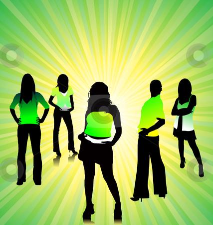 Pretty women silhouettes stock vector clipart, Pretty women silhouettes vector illustration by Leonid Dorfman