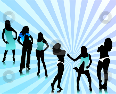 Pretty women silhouettes stock vector clipart, Pretty women silhouettes vector silhouettes by Leonid Dorfman