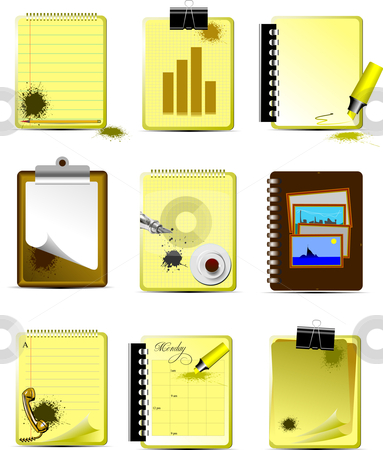 Vector Nine Office and Business icons stock vector clipart, Vector Nine Office and Business icons. Help for designers and web-designers by Leonid Dorfman