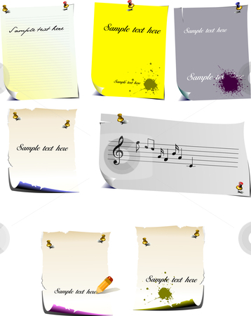 Set of note pages stock vector clipart, Set of note pages vector illustration by Leonid Dorfman