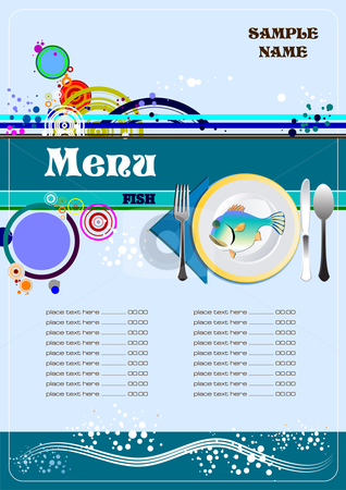 Fish Restaurant (cafe) menu stock vector clipart, Fish Restaurant (cafe) menu vector illustration by Leonid Dorfman