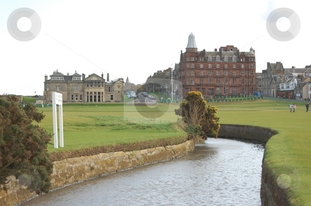 St Andrews stock photo, Shot looking across the Swilken Burn towards the 1st tee of the Old Course, St Andrews by Paul McKay