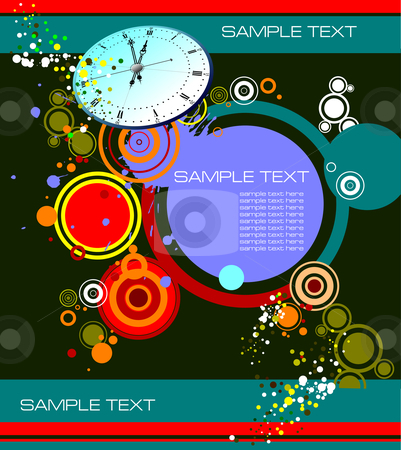 Grunge background stock vector clipart, Grunge background with clock image, vector illustration by Leonid Dorfman