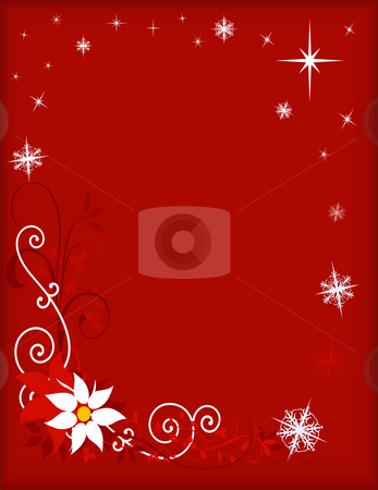 Christmas Frame - Red stock photo, Christmas design - white pointsettia with scrolls, snowflakes and stars on red background.  Ratio sized for greeting card with framed center area open for text copy or composite editing. by Teri Francis Mazzafro