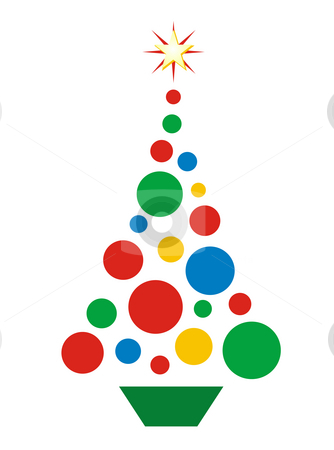Christmas Ball Tree stock photo, Conceptual Christmas tree -- illustration designed from colorful Christmas balls in red, green, blue, and gold, with star on top.  Isolated on white background. by Teri Francis Mazzafro