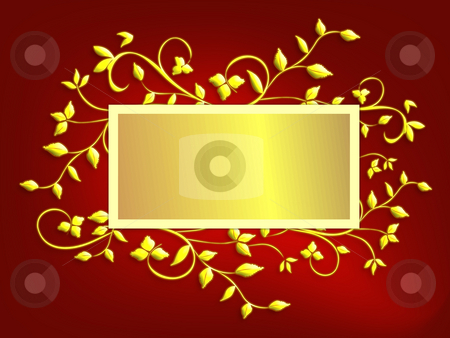 Holiday Greeting Frame - Red stock photo, Red holiday greeting background with gold frame in center for copy or message, framed with gold holly vines in faux 3d.  Ratio sized for 5x7  greeting card. by Teri Francis Mazzafro