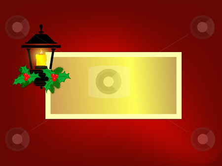 Holiday Lantern Frame stock photo, Small holiday lantern on red background with gold copyspace frame in center.  Ratio sized for 5x7 horizontal greeting card. by Teri Francis Mazzafro