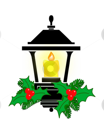 Holiday Lantern with Candle stock photo, Illustrated holiday lantern with candle and flame, decorated with holly and evergreens. by Teri Francis Mazzafro