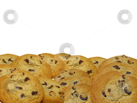 Chocolate Chip Cookie Border stock photo, Chocolate chip cookies arranged for horizontal or vertical border, isolated on white background for copy space or composite editing. by Teri Francis Mazzafro