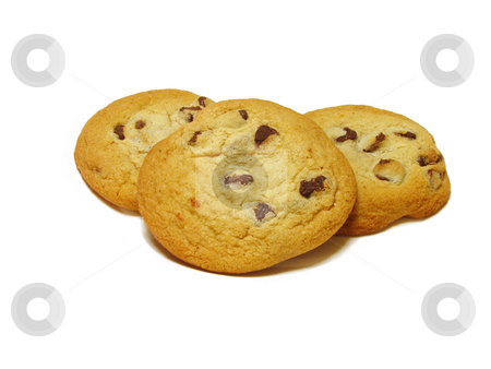 Chocolate Chip Cookies stock photo, Photo of chocolate chip cookies, isolated on white background. by Teri Francis Mazzafro