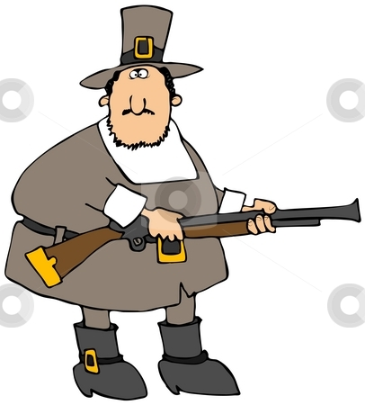Pilgrim With A Gun stock photo, This illustration depicts a Pilgrim carrying a blunderbuss rifle. by Dennis Cox