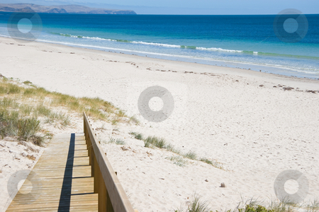 Ramp to the Beach stock photo, Ramp to a deserted beach by Nicholas Rjabow