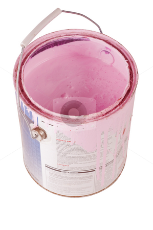 Hot pink paint isolated stock photo, Gallon can of pink paint isolated with clipping path by RCarner Photography