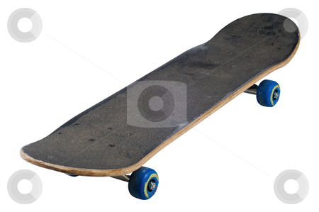Skateboard isolated with clipping path stock photo, Teenagers fine ride isolated with clipping path by RCarner Photography