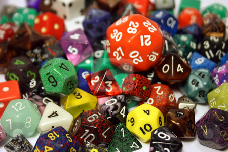 Dice stock photo, A variety of dice in a pile by Julie Bentz