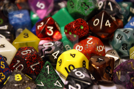 Dice Close-up stock photo, Close-up on a pile of dice by Julie Bentz