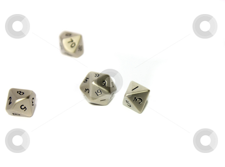 Small Metal Dice stock photo, Small metal dice on white background by Julie Bentz