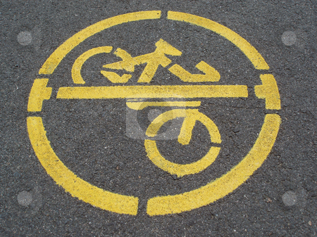 No cycling stock photo, No cycling sign stencilled on a pavement by Stephen Gibson