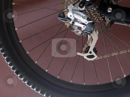 Gear shift derailleur stock photo, A downhill mountainbike gear wheel and gearshift mechanism by Stephen Gibson