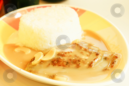 Burger stake stock photo, Burger stake in mushroom gravy with rice by Jonas Marcos San Luis