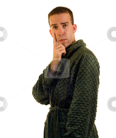Male Bathrobe stock photo, A young male wearing a bathrobe, isolated on a white background by Richard Nelson