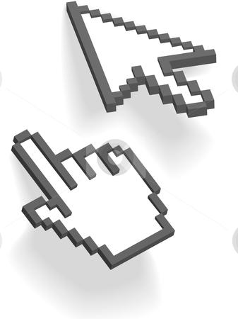Pixel arrow hand 3D cursors point on shadows stock vector clipart, Pixel arrow and hand cursors point and click on shadows on white. by Michael Brown