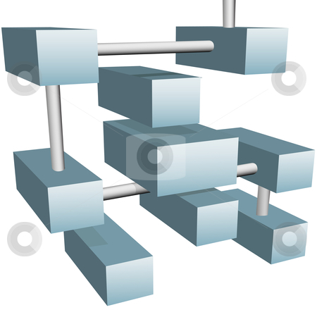Abstract data cubes boxes form 3D network connections stock vector clipart, Abstract data cubes or boxes form a system of 3D network connections on white. by Michael Brown