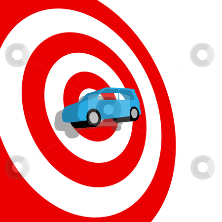Car hunt auto shopping 3D on target bullseye stock vector clipart, Car Buying: a blue used or new auto on the bullseye of a red target, with drop shadow. by Michael Brown