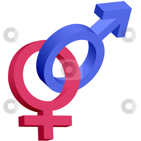 Red and blue male female 3D symbols interlocked stock vector clipart, Red and blue male female 3D gender symbols interlocked isolated on white. by Michael Brown