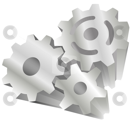 Set of 3 shiny 3D technology gears stock vector clipart, Set of 3 shiny 3D technology gears exploding out of a white background. by Michael Brown