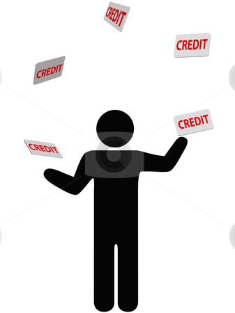 Symbol person juggles finances credit card debt stock vector clipart, A symbol person juggles credit cards, debt, and personal finances credit card. by Michael Brown